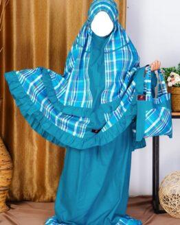 Rocella Mukena Kids Azalea Blue Marbel 2